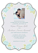 Floral Wreath Invitation Aqua Ornate Wedding Invites Flat Cards - Front