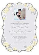 Floral Wreath Invitation Yellow Ornate Wedding Invites Flat Cards - Front