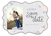 Floral Wreath Date Pink Ornate Save the Date Flat Cards - Front
