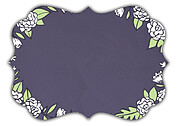 Floral Wreath Date Purple Ornate Save the Date Flat Cards - Back