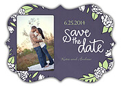 Floral Wreath Date Purple Ornate Save the Date Flat Cards - Front