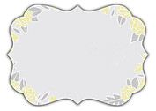 Floral Wreath Date Yellow Ornate Save the Date Flat Cards - Back