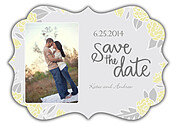 Floral Wreath Date Yellow Ornate Save the Date Flat Cards - Front