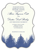 Forest Landscape Invitation Navy Ornate Wedding Invites Flat Cards - Front