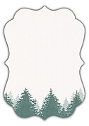 Forest Landscape Date Green Ornate Save the Date Flat Cards - Back