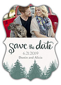Forest Landscape Date Green Ornate Save the Date Flat Cards - Front
