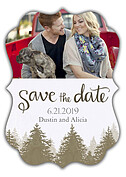 Forest Landscape Date Neutral Ornate Save the Date Flat Cards - Front