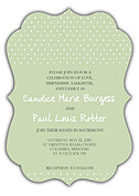 Swiss Dot Invitation Green Ornate Wedding Invites Flat Cards - Front