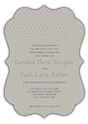 Swiss Dot Invitation Neutral Ornate Wedding Invites Flat Cards - Front