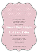 Swiss Dot Invitation Pink Ornate - Front