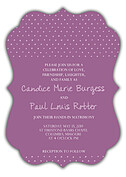 Swiss Dot Invitation Purple Ornate - Front