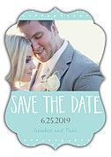 Swiss Dot Date Aqua Ornate Save the Date Flat Cards - Front