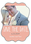Swiss Dot Date Coral Ornate Save the Date Flat Cards - Front