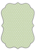 Swiss Dot Date Green Ornate Save the Date Flat Cards - Back