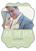 Swiss Dot Date Green Ornate Save the Date Flat Cards - Front