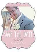 Swiss Dot Date Pink Ornate Save the Date Flat Cards - Front