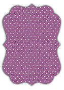 Swiss Dot Date Purple Ornate Save the Date Flat Cards - Back