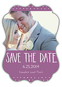 Swiss Dot Date Purple Ornate Save the Date Flat Cards - Front