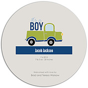 Precious Cargo Green Circle Birth Announcements Flat Cards - Back
