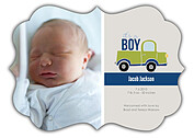 Precious Cargo Green Ornate Birth Announcements Flat Cards - Front