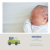 Precious Cargo Green Square Birth Announcements Flat Cards - Front