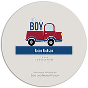 Precious Cargo Red Circle Birth Announcements Flat Cards - Back