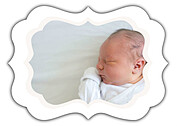 Precious Cargo Red Ornate Birth Announcements Flat Cards - Back