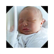 Precious Cargo Red Square Birth Announcements Flat Cards - Back