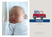 Precious Cargo Red Birth Announcements Flat Cards - Front