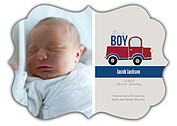 Precious Cargo Red Ornate Birth Announcements Flat Cards - Front