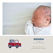 Precious Cargo Red Square Birth Announcements Flat Cards - Front