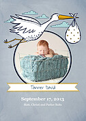 Precious Delivery Yellow Birth Announcements Flat Cards - Front