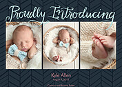 Proudly Introducing Navy Birth Announcements Flat Cards - Front