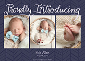 Proudly Introducing Purple Birth Announcements Flat Cards - Front
