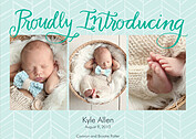 Proudly Introducing Teal Birth Announcements Flat Cards - Front