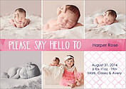 Say Hello Pink Birth Announcements Flat Cards - Front