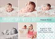 Say Hello Teal Birth Announcements Flat Cards - Front