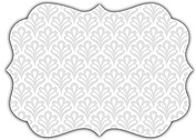 Scalloped Pattern Ornate Wedding Invites Flat Cards - Back