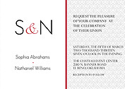 Scalloped Pattern Wedding Invites Flat Cards - Front