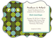 Sea of Dots Ornate Wedding Invites Flat Cards - Front