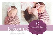 Seal of Approval Purple Birth Announcements Flat Cards - Front