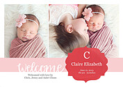 Seal of Approval Red Birth Announcements Flat Cards - Front