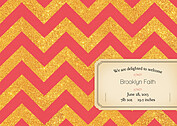 Shimmer Banner Coral Birth Announcements Flat Cards - Back