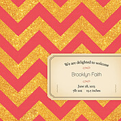 Shimmer Banner Coral Square Birth Announcements Flat Cards - Back