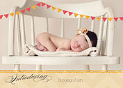 Shimmer Banner Coral Birth Announcements Flat Cards - Front