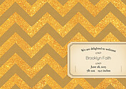 Shimmer Banner Dark Khaki Birth Announcements Flat Cards - Back