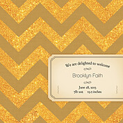 Shimmer Banner Dark Khaki Square Birth Announcements Flat Cards - Back
