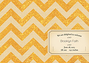 Shimmer Banner Tan Birth Announcements Flat Cards - Back