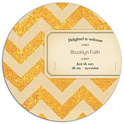 Shimmer Banner Tan Circle Birth Announcements Flat Cards - Back