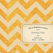 Shimmer Banner Tan Square Birth Announcements Flat Cards - Back